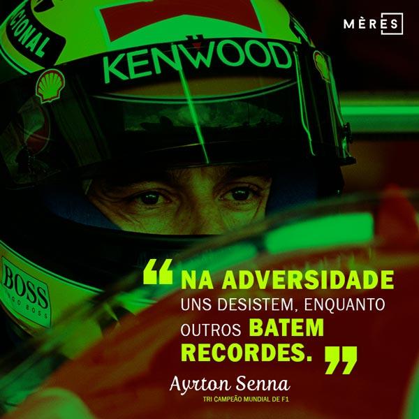 Artes para redes sociais Ayrton Senna e frase inspiradora