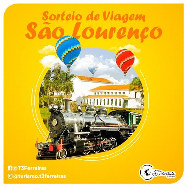 Artes para redes sociais Sorteio de Viagem para São Lourenço